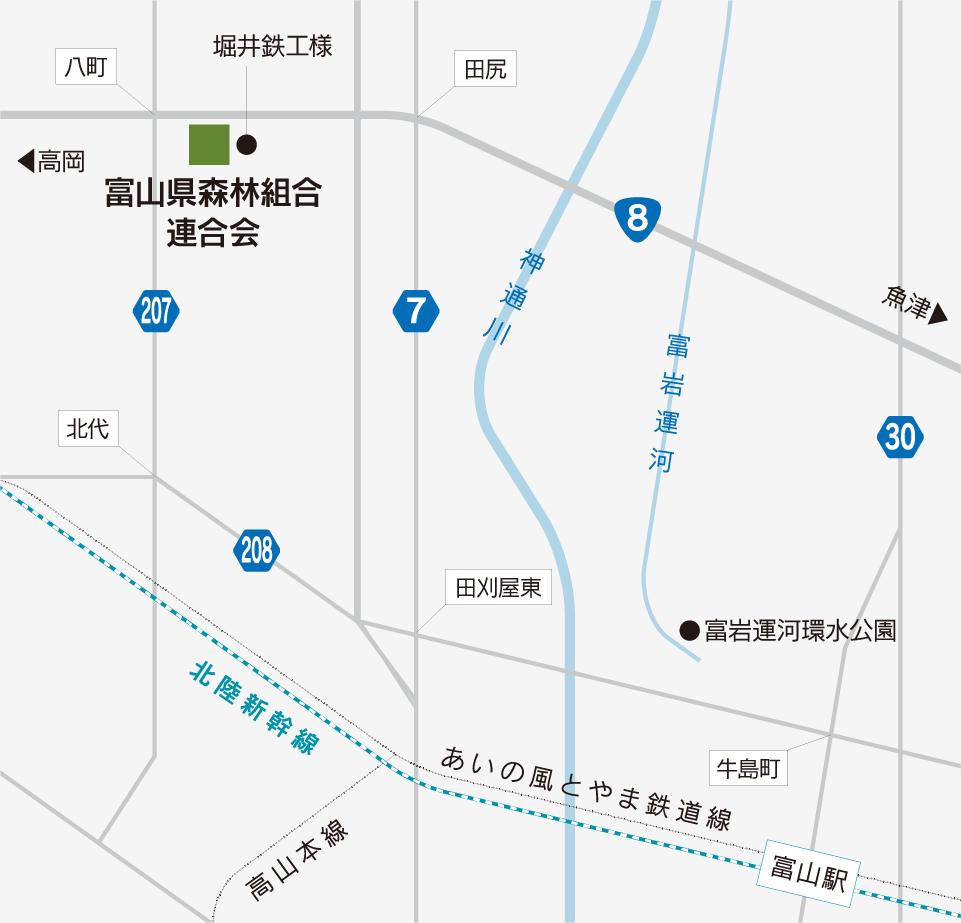 [地図]とやま県産材需給情報センター